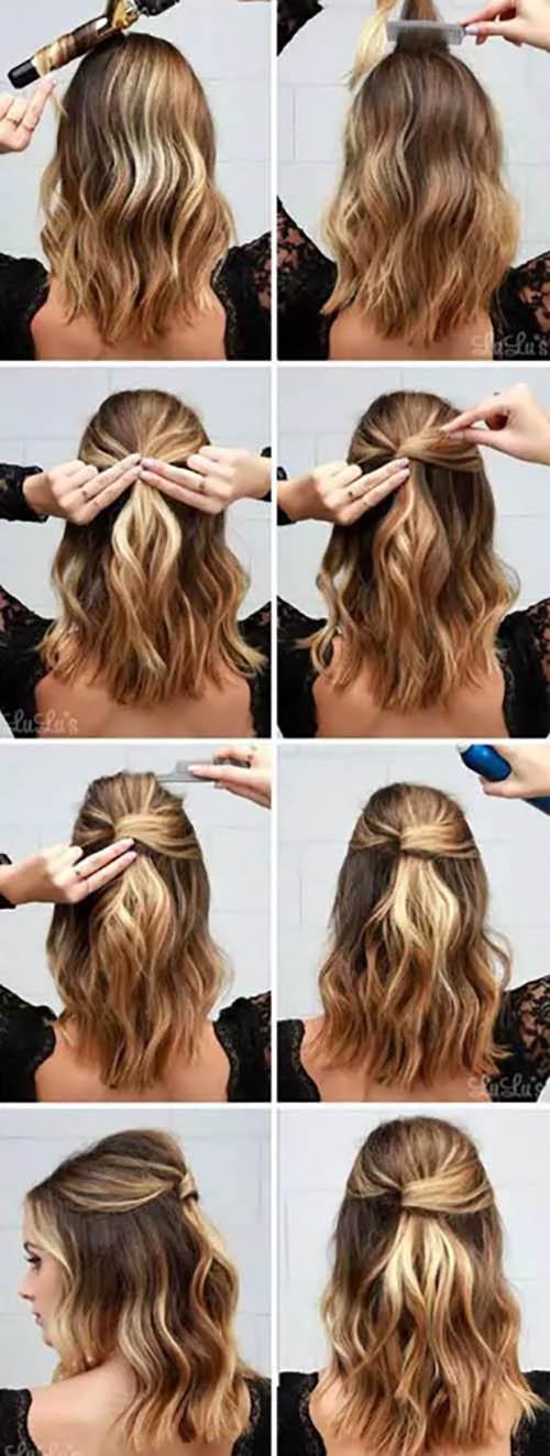 Tóc dài ngang vai buộc nửa đầu