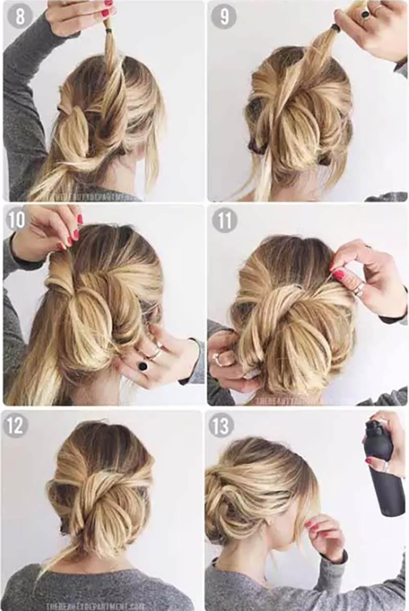 Tóc búi đối xứng đọn giản