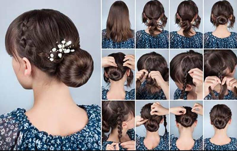 Tóc búi thấp với bím tóc 2 bên tai