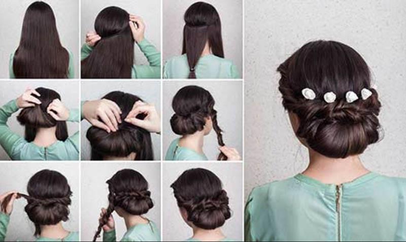 Kiểu tóc xoắn và gấp