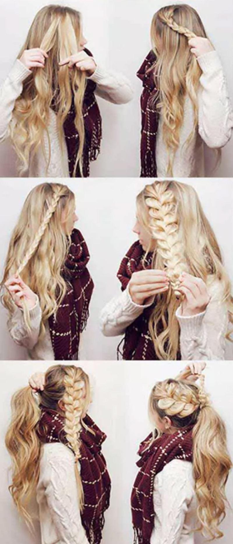 Bện tóc xéo đuôi ngựa