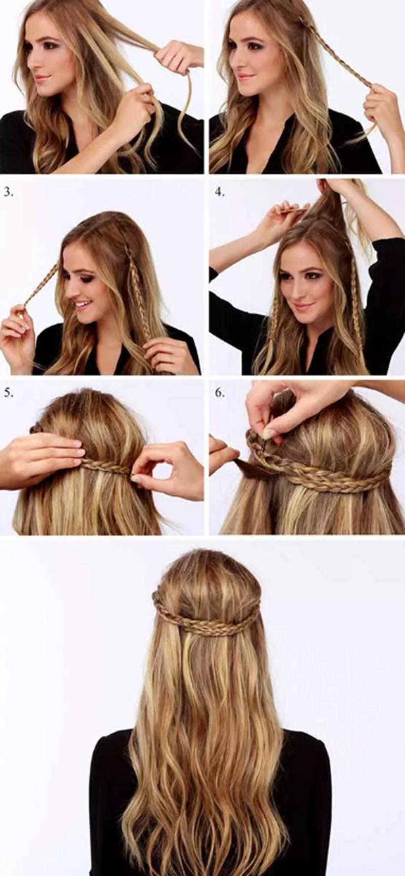 Bím tóc mỏng ra sau đầu