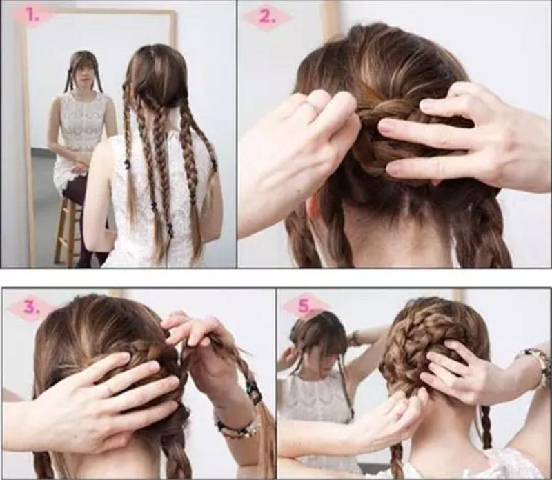 Búi tóc từ 5 đoạn tết