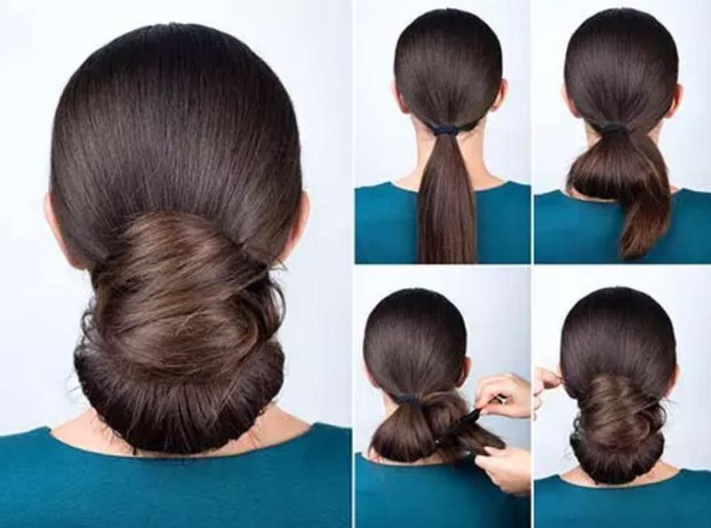 Kiểu tóc búi xoắn thấp thanh lịch