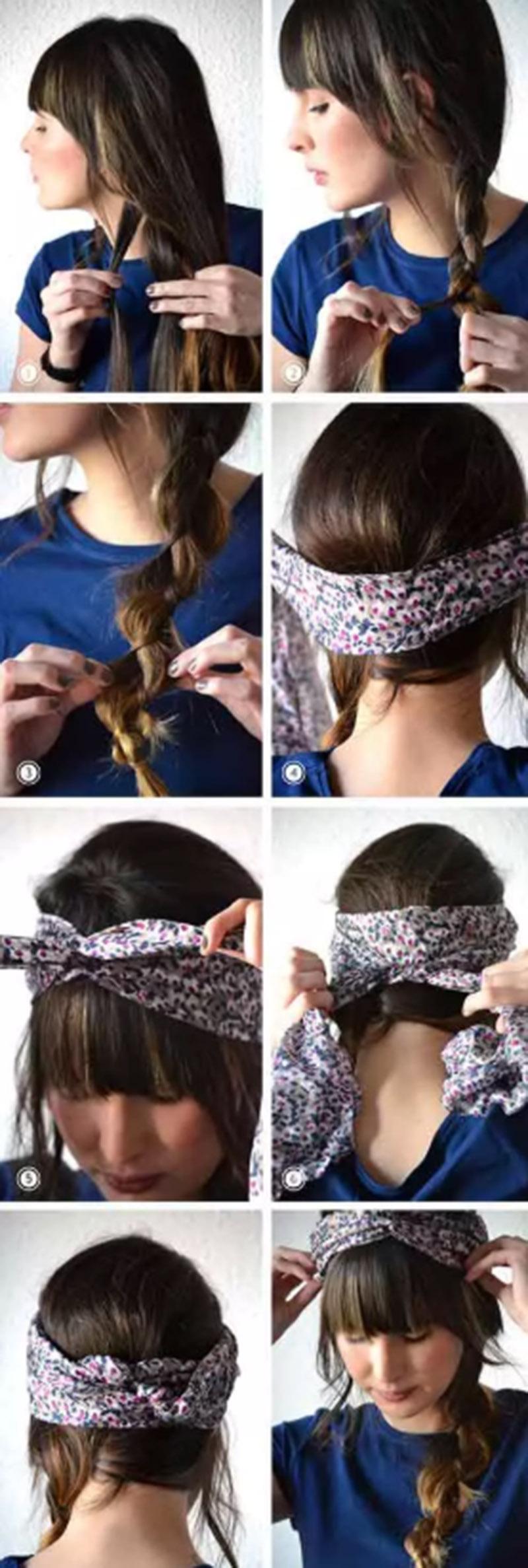 Kiểu tóc tết đơn giản kết hợp với khăn vải