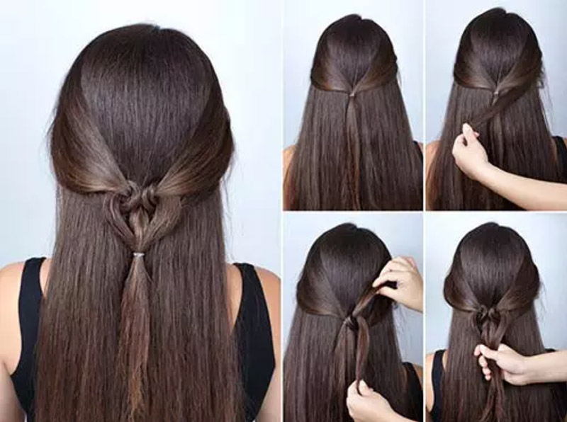 Kiểu tóc xõa tự nhiên kết hợp dấu tóc hình trái tim