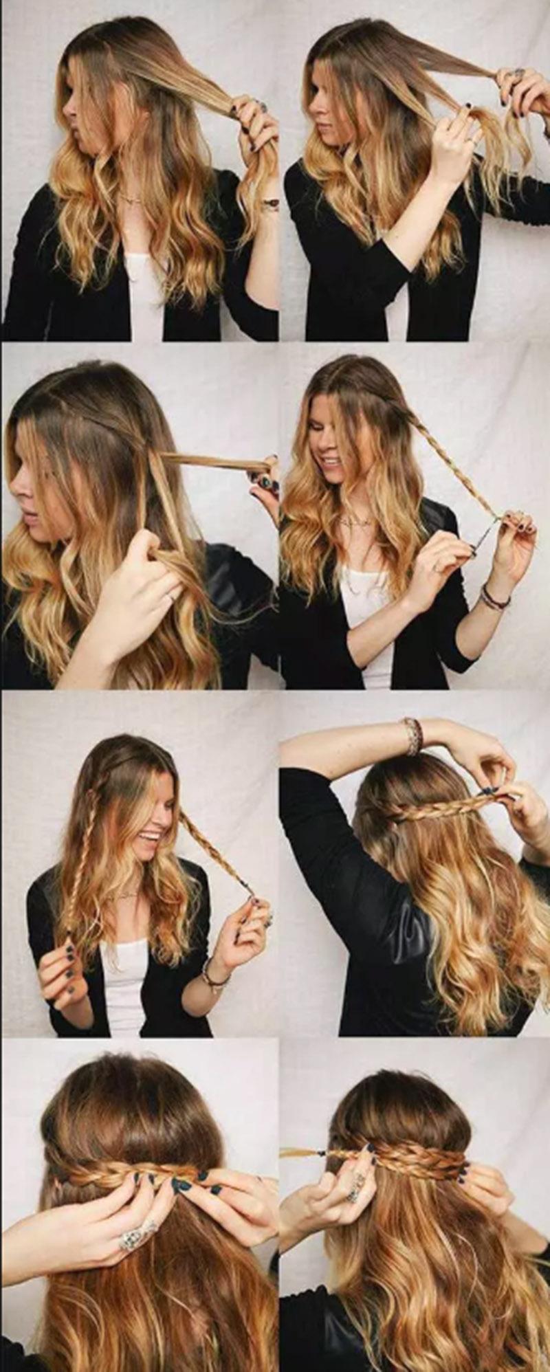 Tết tóc bím ngang đầu