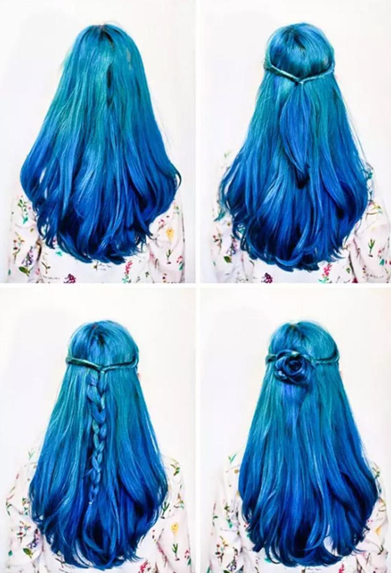 Tết tóc cuốn thành bông hoa