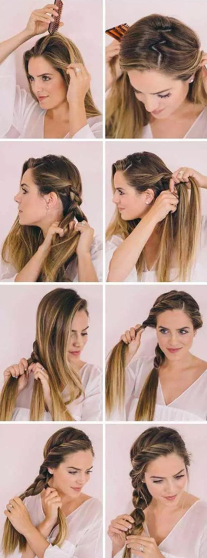 Tết tóc kéo sang hai bên