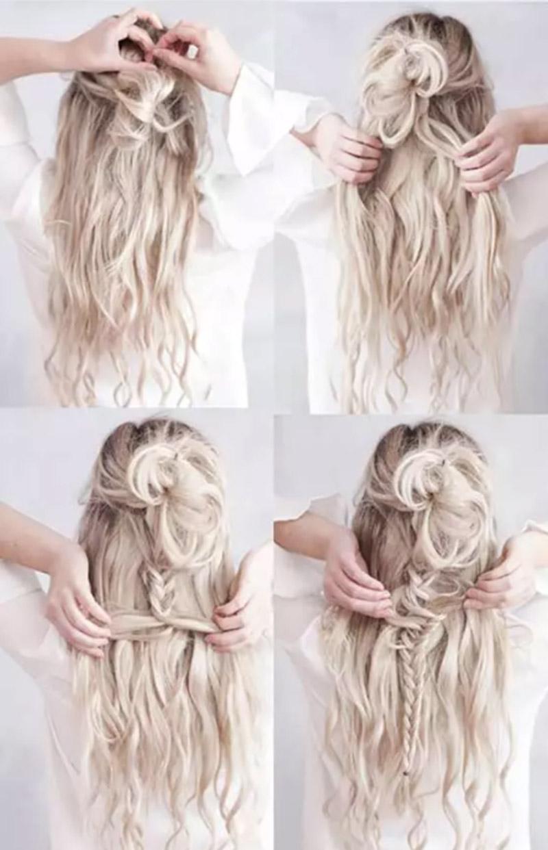 Tết tóc kết hợp búi kiểu Bohemian