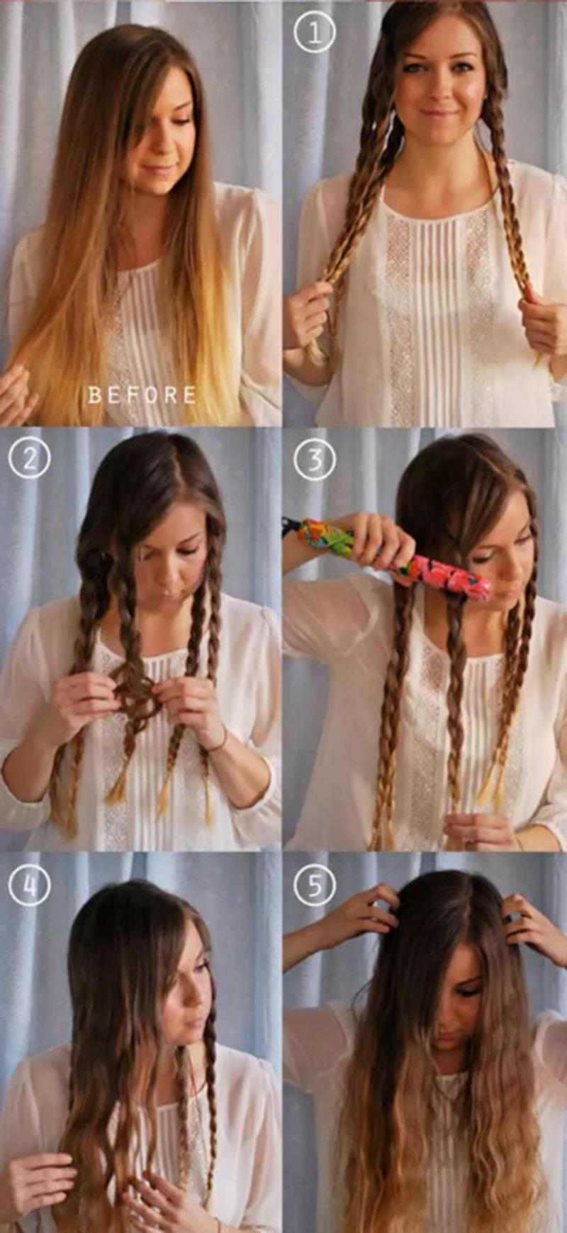 Thực hiện duỗi thẳng các bím tóc đã tết