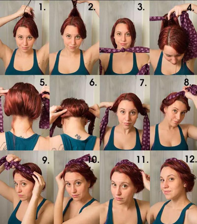 Thực hiện quấn tóc với khăn