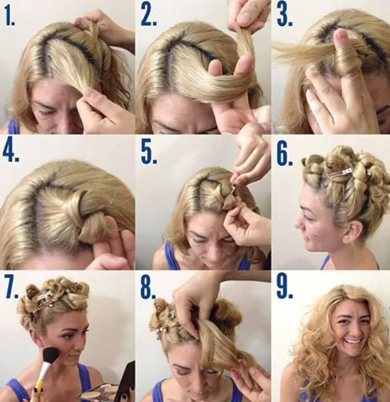 Thực hiện thắt nút tóc