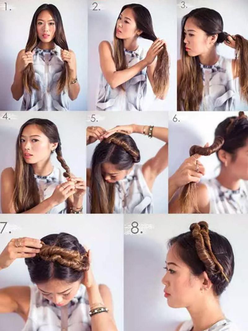 Thực hiện xoắn tóc vòng qua đỉnh đầu