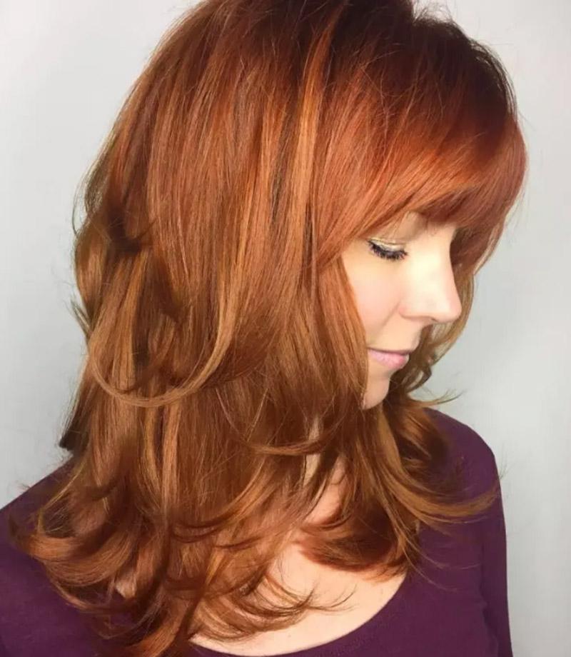 Tóc cắt layer màu đỏ