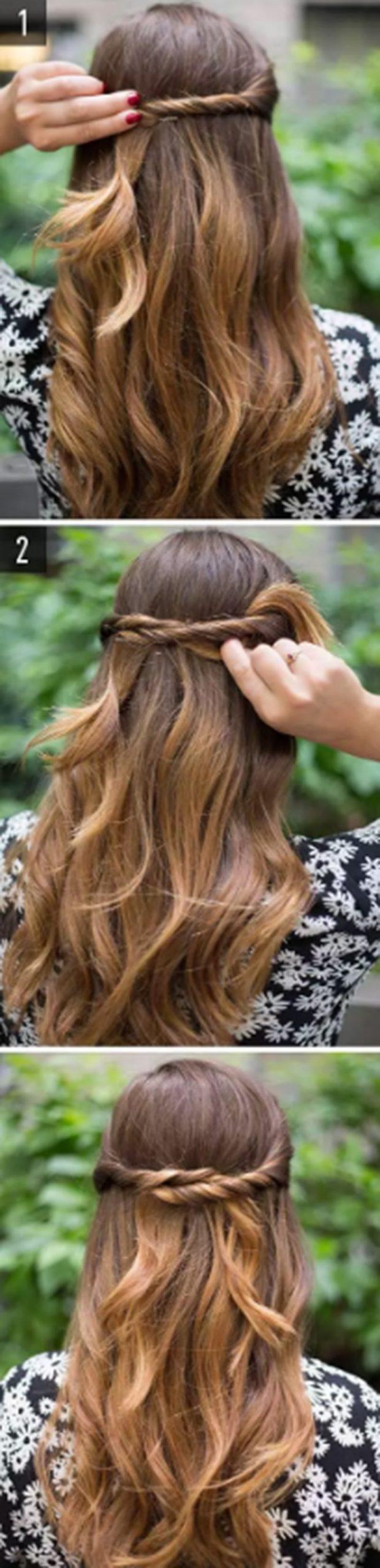 Xoắn tóc tạo nút thắt