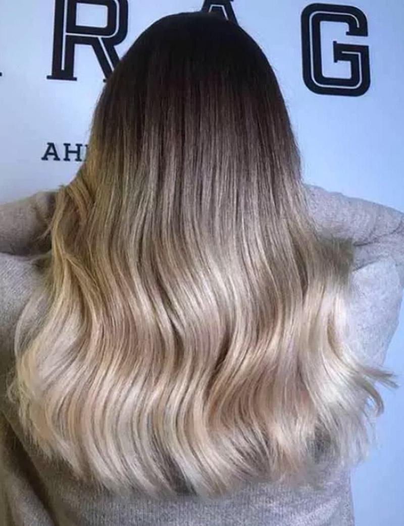 Màu tóc ombre nâu sẫm đến vàng sáng