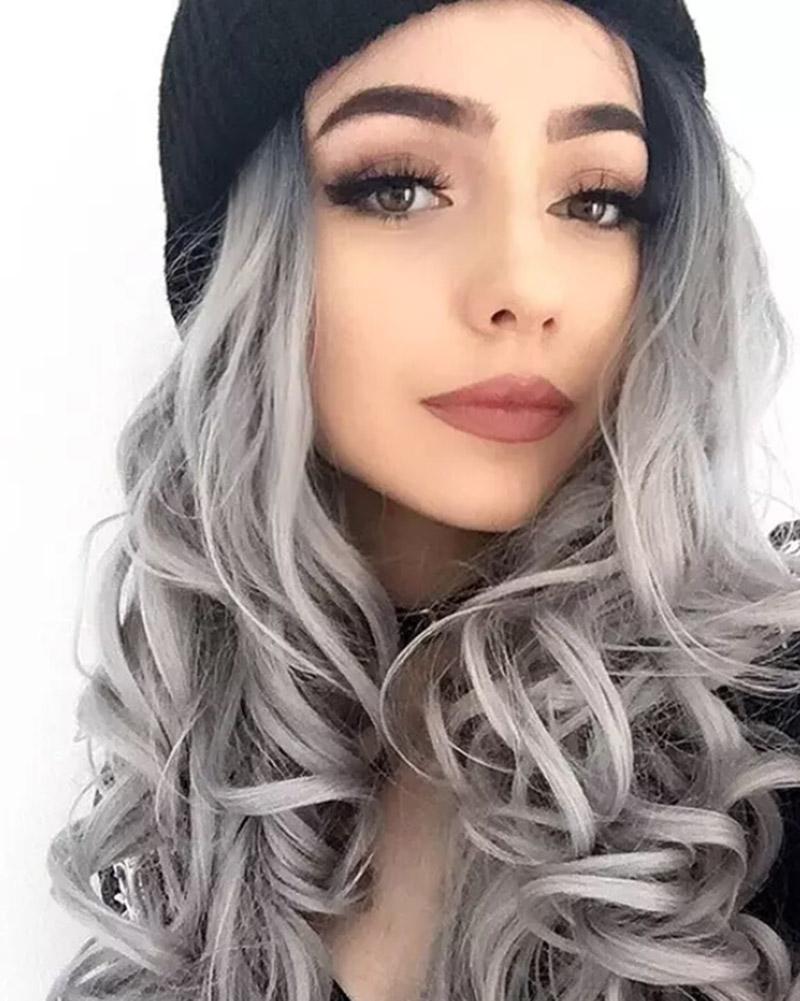 Tóc nhuộm ombre màu xám