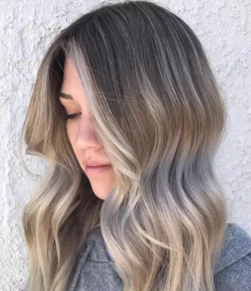 Kiểu tóc nhuộm vàng tro theo phong cách Sombre