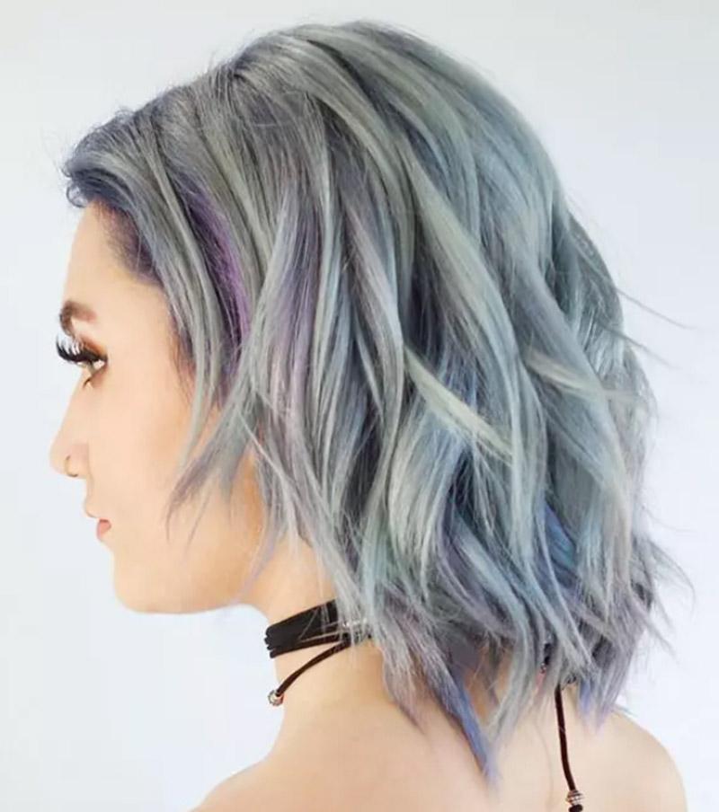 Tóc nhuộm lowlight màu tím