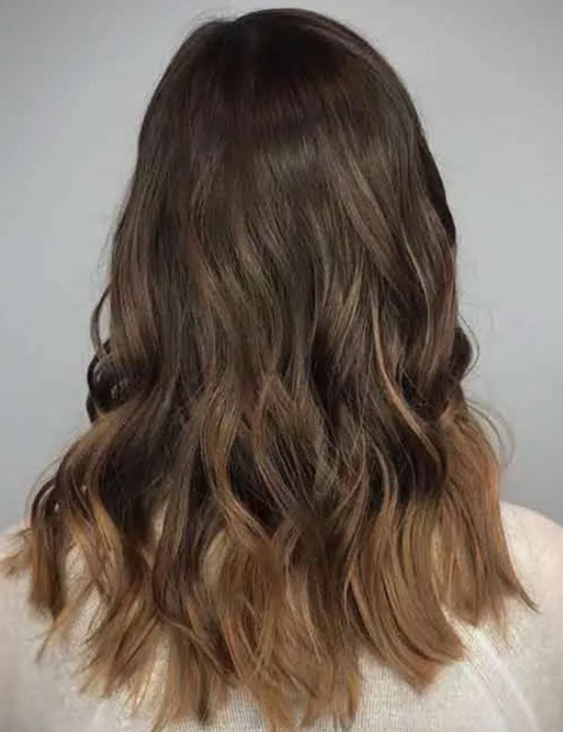 Balayage tóc vàng màu be