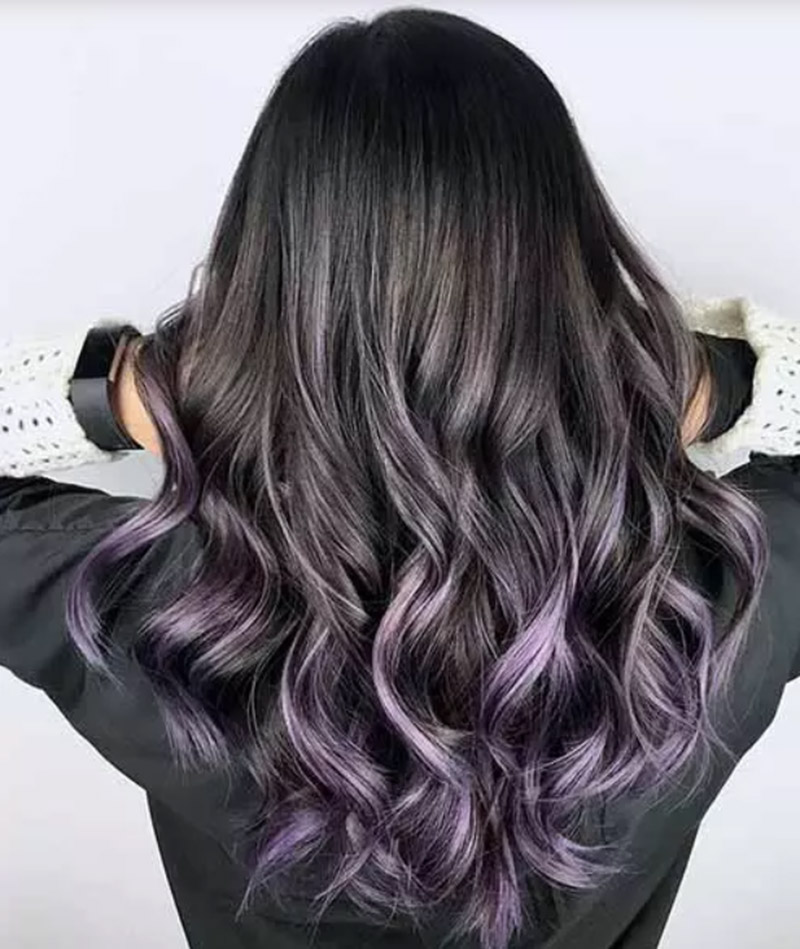 Màu tím ombre trên mái tóc đen
