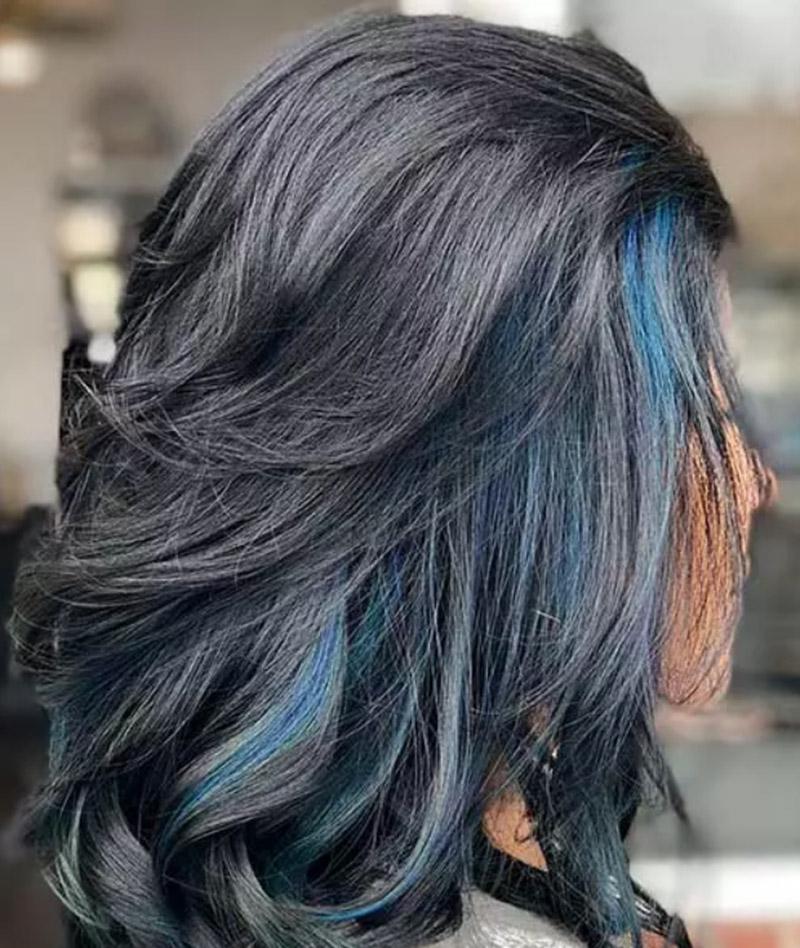 Mái tóc xanh đen Frosted