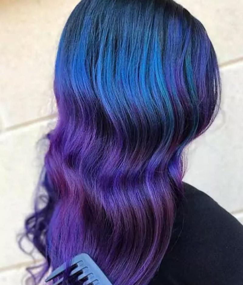 Kiểu tóc nhuộm màu tím huyền bí
