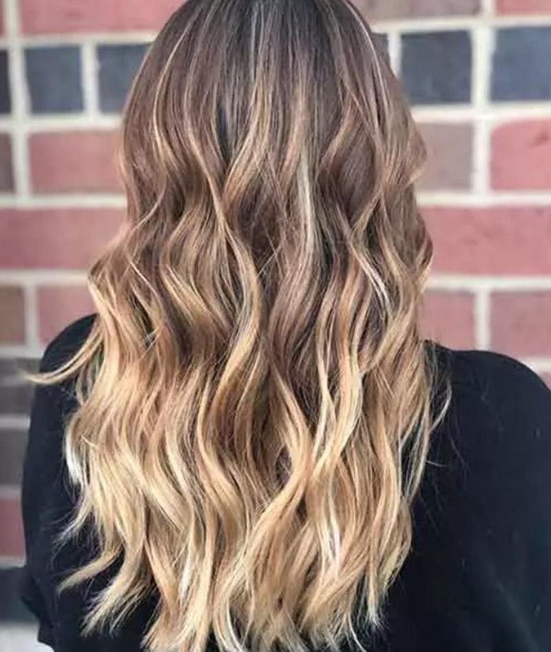 Balayage tóc vàng đào