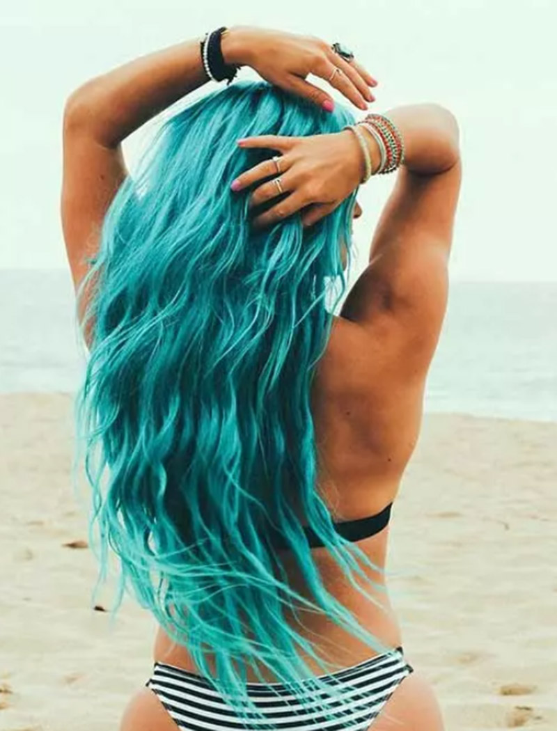Kiểu tóc nhuộm sóng Aquamarine