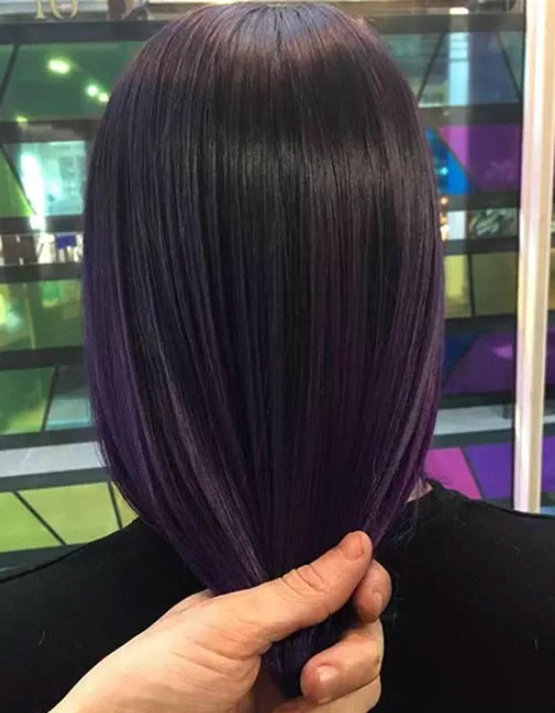 Màu ombre tím kết hợp mái tóc đen tự nhiên
