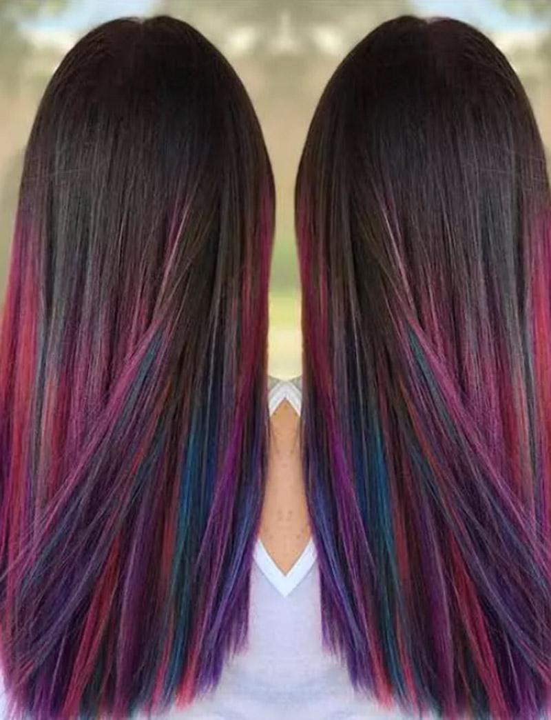 Tóc ombre nhiều màu sắc kết hợp mái tóc đen