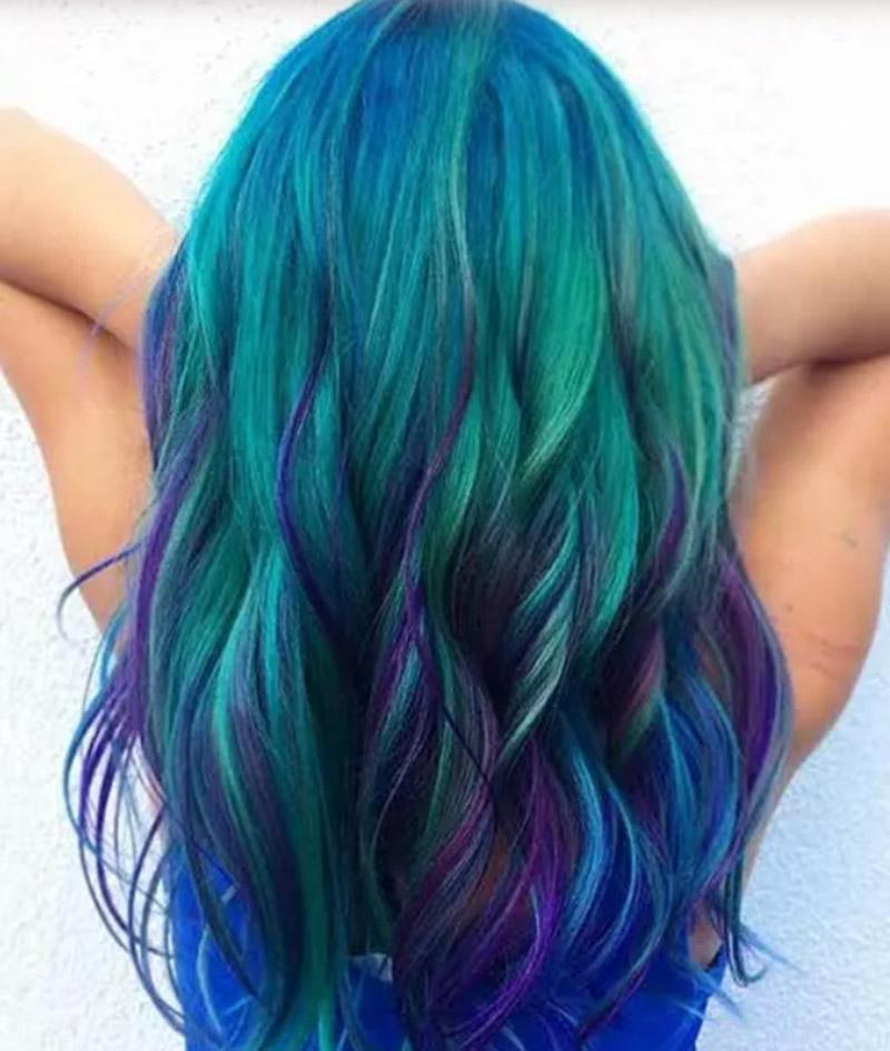 Kiểu tóc nhuộm màu tím nhạt