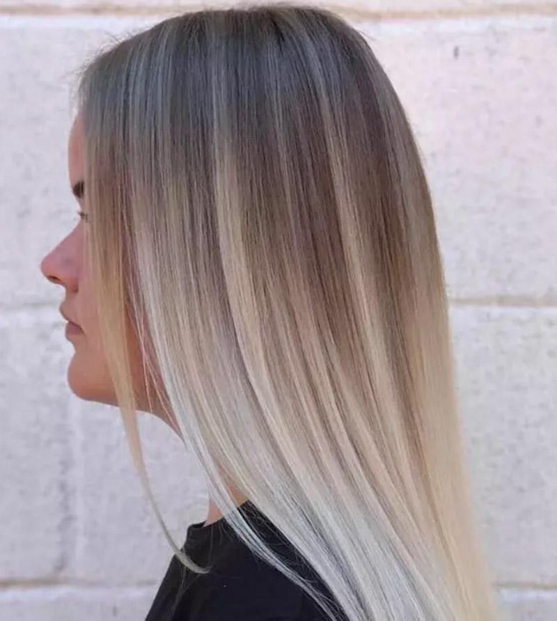 Kiểu tóc vàng tro phong cách ombre