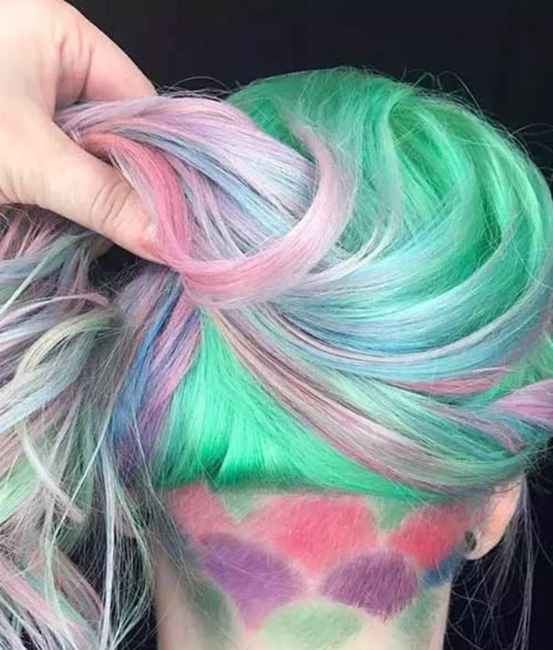 Kiểu tóc nhuộm Pastel kết hợp với Undercut