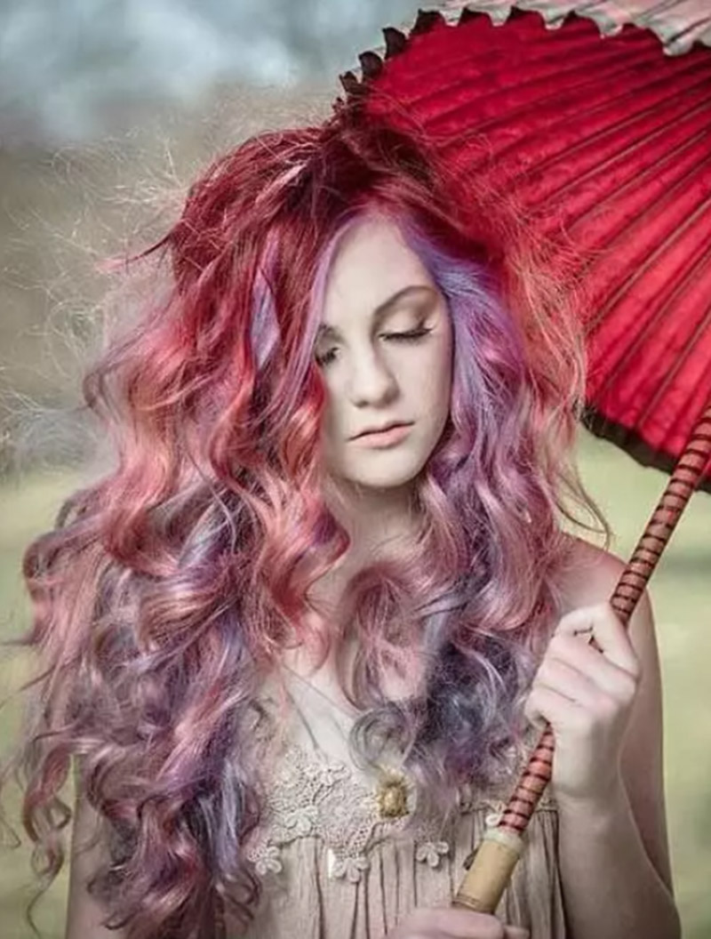 Kiểu tóc nhuộm màu đá Ruby