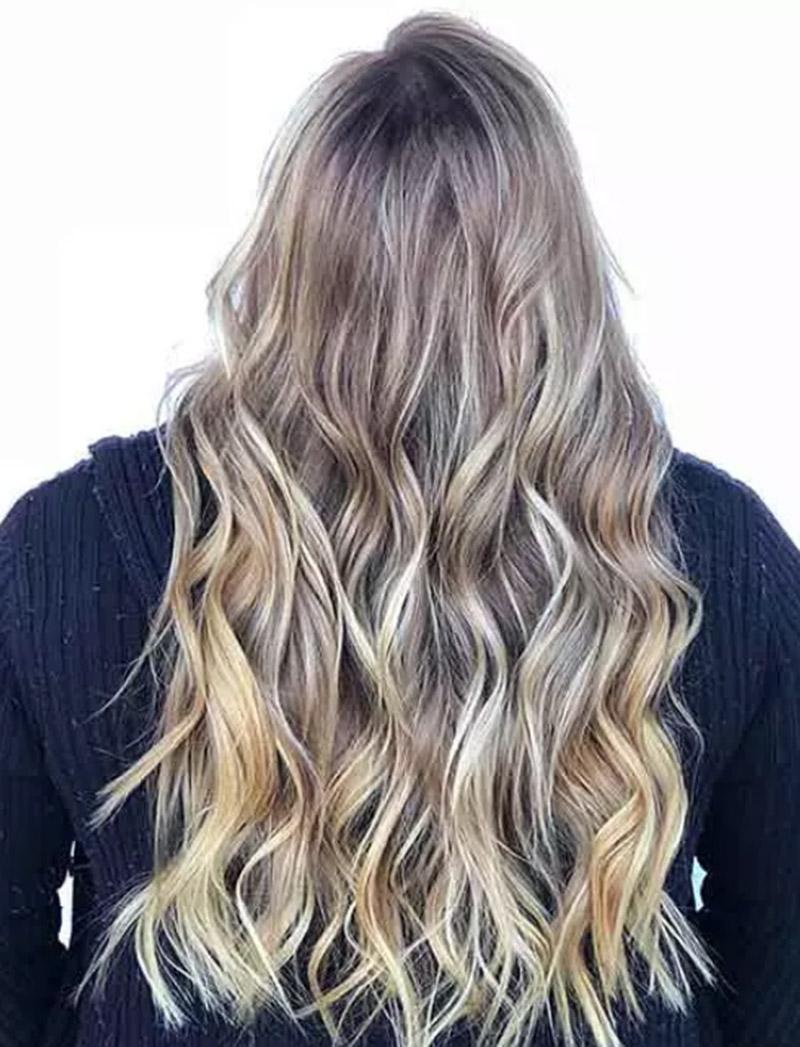 Tóc màu vàng lạnh với sợi móc light siêu nhỏ