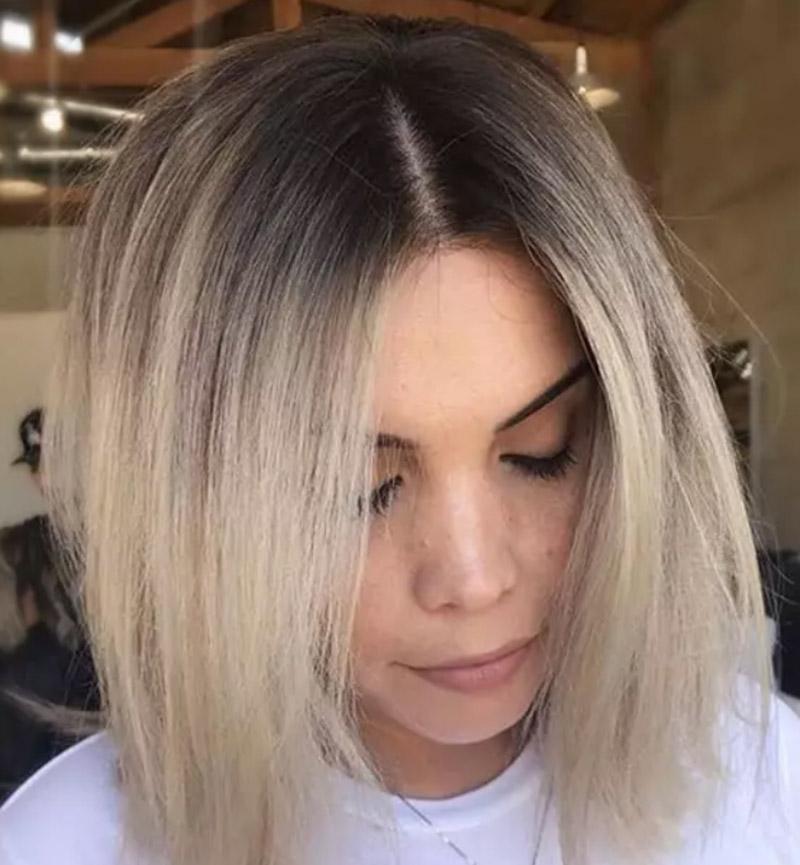 Kiểu tóc nhuộm màu vàng tro latte
