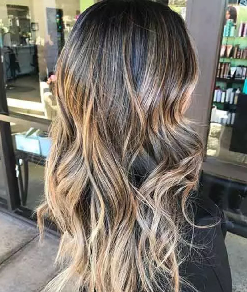 Balayage tóc vàng đậm