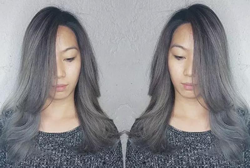 Tóc nhuộm ombre màu bạc