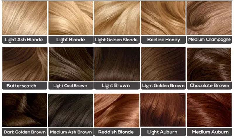Biểu đồ màu tóc của thương hiệu Clairol