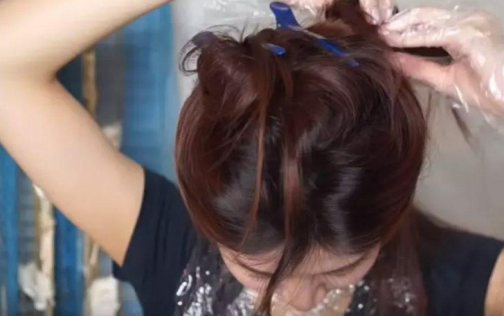 Bước 2: Chia tóc