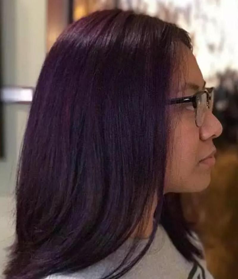 Kiểu tóc đen truyền thống hòa phối cùng sắc tím đậm