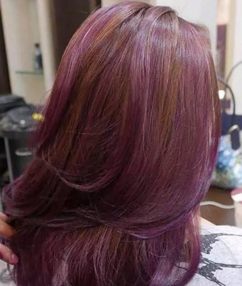 Kiểu tóc nâu phối sắc tím tử đinh hương