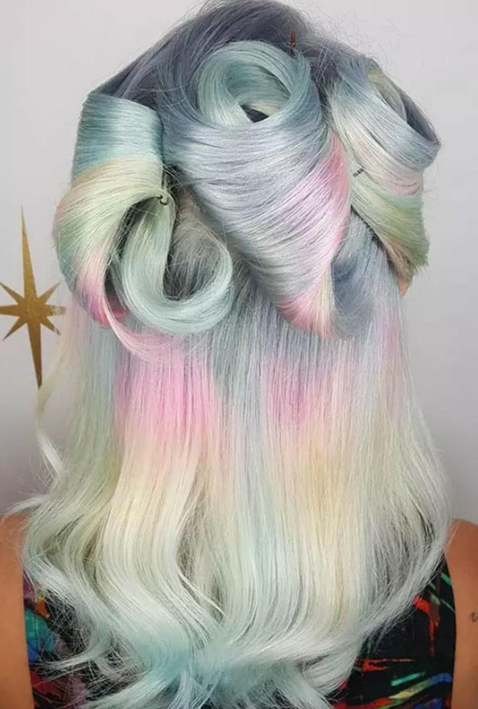 Tóc nhuộm cầu vồng màu pastel