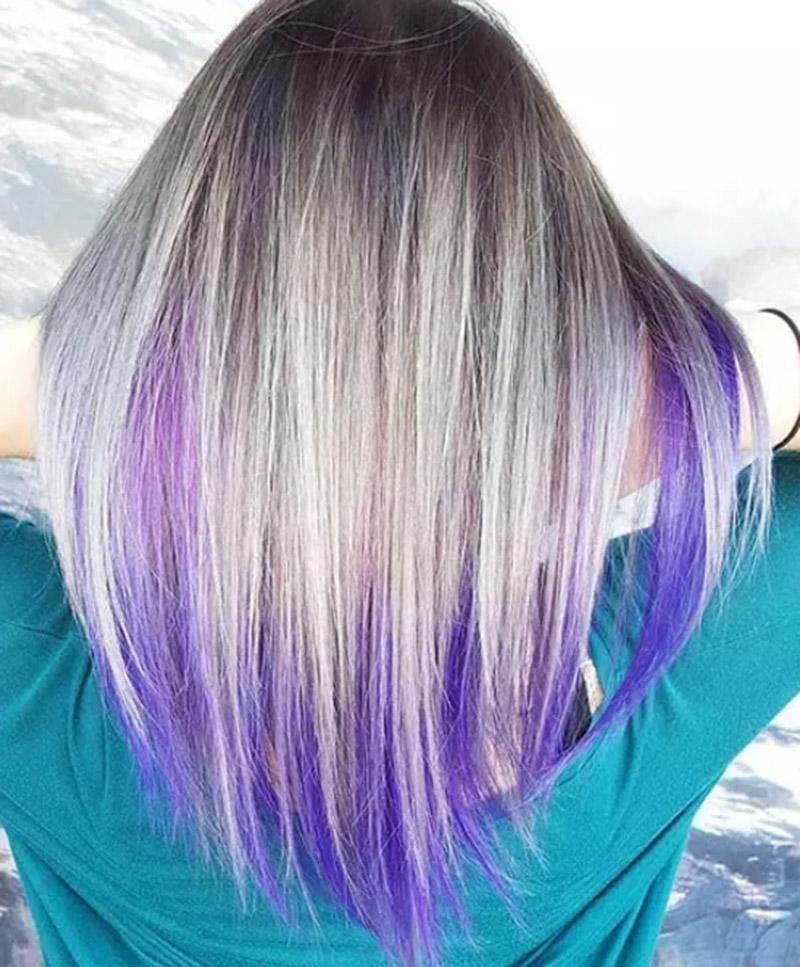 Tóc nhuộm undercolor màu tím